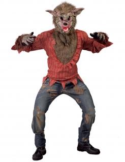 Schauriges Werwolfkostüm für Erwachsene braun-rot