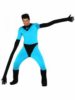 Elastischer Superheld Kostüm für Herren Halloweenkostüm blau-schwarz