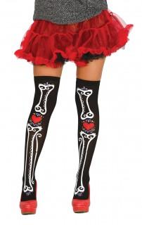 Tag der Toten Overknees mit Knochen-Aufdruck Halloween Kostümaccessoire schwarz-weiss-rot