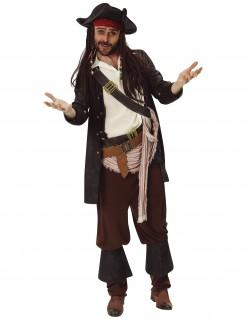 Jack Sparrow™-Kostüm Herrenkostüm Fluch der Karibik™ schwarz-braun-weiss