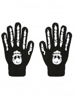 Handschuhe Knochen mit Totenkopf für Erwachsene schwarz-weiss