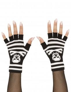 Fingerlose Totenkopf-Handschuhe für Erwachsene