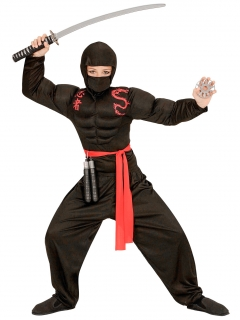 Muskulöses Ninja-Kostüm für Jungen Halloween-Kostüm schwarz-rot