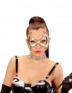 Damen-Halbmaske mit Nieten Punk-Accessoire silber-gold