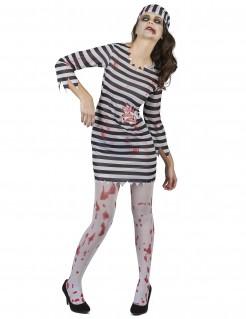 Zombie-Gefangene Halloween-Damenkostüm schwarz-weiss