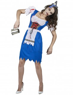 Zombie Bayerin Halloween-Damenkostüm blau-weiss-rot