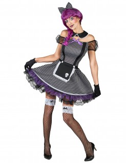 Puppen-Damenkostüm Gothic-Outfit schwarz-weiss-lila