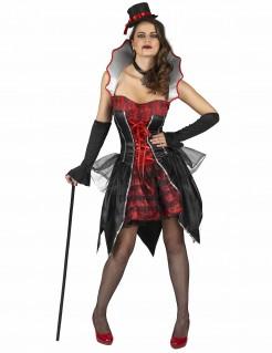 Noble Vampirgräfin Damenkostüm schwarz-rot