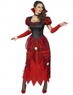Elegantes Vampirkleid mit Rosen Vampir-Damenkostüm rot-schwarz