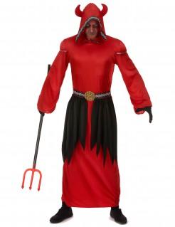 Gehörnter Teufel Halloween-Herrenkostüm rot-schwarz