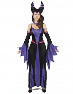 Gehörnte Märchenhexe Halloween-Damenkostüm schwarz-lila