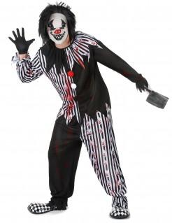 Psycho-Clown Halloweenkostüm schwarz-weiss