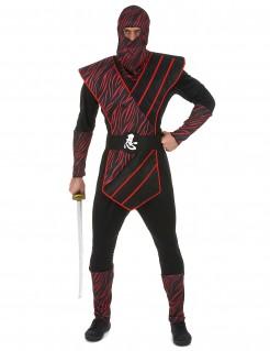 Ninja-Herrenkostüm Japan-Krieger Halloweenkostüm schwarz-rot