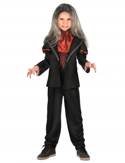 Dracula Vampirlord Halloween-Kinderkostüm schwarz-rot
