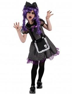 Gothic-Ragdoll Halloween-Kinderkostüm schwarz-weiss-lila
