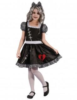 Gothic-Puppenkostüm Ragdoll-Kinderkostüm schwarz-weiss