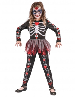 Skelett-Kinderkostüm für Mädchen schwarz-rot-weiss