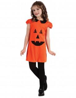 Kürbis-Mädchenkostüm Halloween-Kinderkostüm orange-schwarz