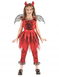 Geflügelte Teufelin Halloween-Kinderkostüm rot-schwarz