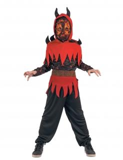 Flammender Teufelsjunge Halloween-Kinderkostüm schwarz-rot