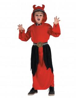 Teufel-Kinderkostüm Dämonenkönig mit gehörnter Kapuze rot-schwarz