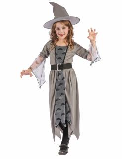 Geheimnisvolle Hexe Halloween-Kinderkostüm grau-schwarz