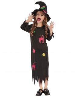Süßes Hexen-Kinderkostüm mit Flicken schwarz-bunt