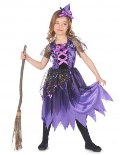 Magisches Hexenkostüm Halloween-Kinderkostüm mit Glitzer lila-schwarz