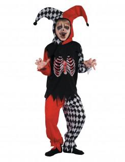 Untoter Harlekin Gruseliges Kinderkostüm schwarz-rot-weiss
