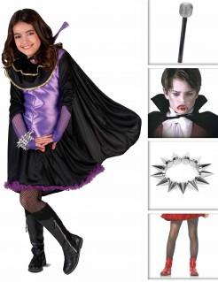 Vampir-Kostüm-Set für Mädchen bunt
