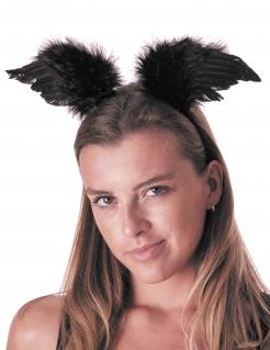 Engelsflügel-Haarreif Dunkler-Engel-Kostümzubehör schwarz