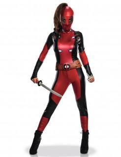 Deadpool™-Damenkostüm Faschingskostüm rot-schwarz