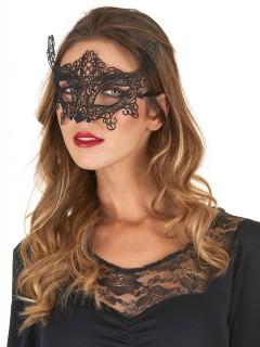 Venezianische Halbmaske mit Spitze und Ornamenten schwarz
