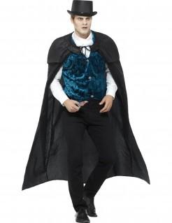 Elegantes Vampirkostüm für Herren schwarz-blau-weiß