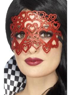 Damen-Halbmaske mit Herzen und Pailletten rot