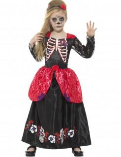 Dia de los Muertos Skelett-Prinzessin Halloween Kinderkostüm schwarz-weiss-rot