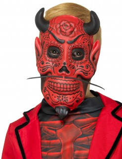 Teuflischer Gentleman Dia de los Muertos Halloween-Kindermaske rot-schwarz
