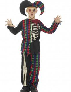 Untoter Harlekin Kinder-Halloweenkostüm schwarz-weiss-bunt