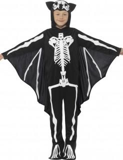 Fledermaus-Skelett-Kinderkostüm schwarz-weiss