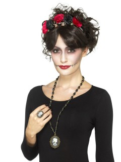 Dia de los Muertos Halloween Schmuck-Set mit Halskette und Ring 2-teilig bunt