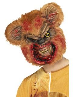 Teddy-Zombiemaske für Erwachsene Halloween braun-schwarz-rot
