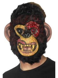 Affen-Zombiemaske braun-gelb-rot