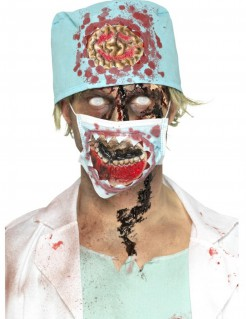 Zombie Chirurgen-Set für Halloween mit Haube und Mundschutz 2-teilig bunt