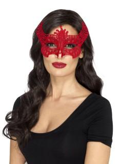 Teufelin Halloween-Augenmaske Kostüm-Accessoire rot