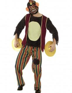 Gruseliger Zombie-Spielzeugaffe Halloween-Herrenkostüm bunt