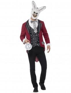 Verrücktes Hasenkostüm für Herren schwarz-weiss-rot