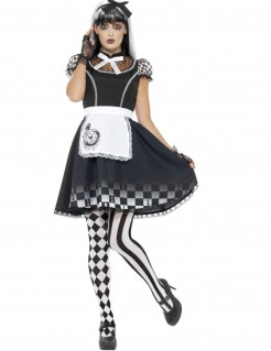 Gothic Harlekin Halloween-Damenkostüm schwarz-weiss
