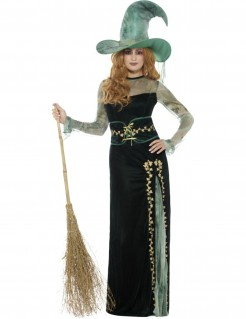 Bezaubernde Waldhexe Halloween-Damenkostüm schwarz-grün-beige