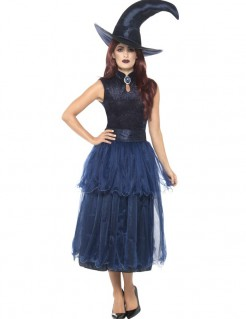 Elegante Mitternachtshexe Halloween Kostüm für Damen lila-schwarz