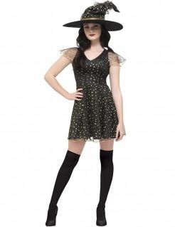 Sexy Hexe Halloween-Damenkostüm mit Sternen schwarz-gold